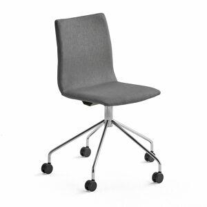 Konferenční židle Ottawa, s kolečky, šedá, chromovaný rám