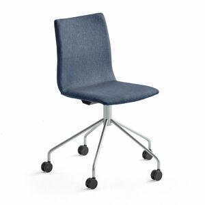 Konferenční židle Ottawa, s kolečky, modrý potah, šedá