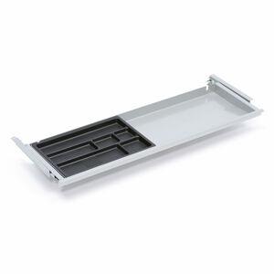 Zásuvka s plastovým organizérem, 873x260x30/44 mm, šedá