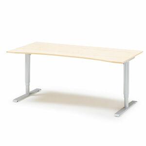 Výškově stavitelný stůl Adeptus vykrojený 180 x 90 cm, béžová
