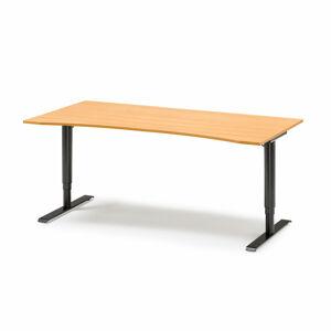 Výškově nastavitelný stůl s vykrojením, 1800x900 mm, dýha - buk, černá