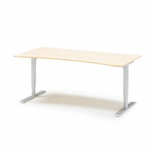 Výškově nastavitelný stůl Adeptus s vykrojením 180 x 90 cm, béžová