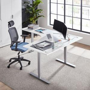 Výškově nastavitelný stůl Flexus rohový 160 x 200 cm, bílá