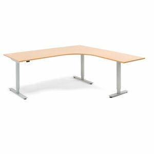 Výškově nastavitelný stůl Flexus rohový 200 x 200 cm, světle hnědá