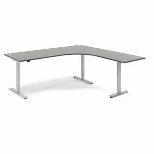 Výškově nastavitelný stůl Flexus rohový 200 x 200 cm, šedá