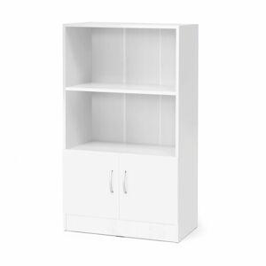 Kancelářská skříň Flexus, 1325x760x415 mm, dveře + 2 otevřené police, bílá