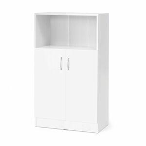 Kancelářská skříň Flexus, 1325x760x415 mm, dveře + 1 otevřená police, bílá