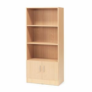 Kancelářská skříň Flexus, 1725x760x415 mm, dveře + 3 otevřené police, buk
