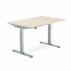 Výškově nastavitelný stůl Modulus, 1200x800 mm, stříbrný rám, bříza