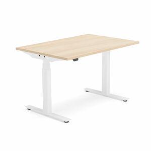 Výškově nastavitelný stůl Modulus, 1200x800 mm, bílý rám, dub