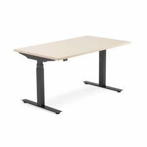 Výškově nastavitelný stůl Modulus, 1400x800 mm, černý rám, bříza