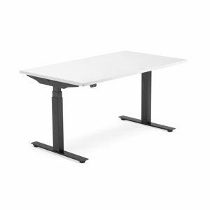 Výškově nastavitelný stůl Modulus, 1400x800 mm, černý rám, bílá