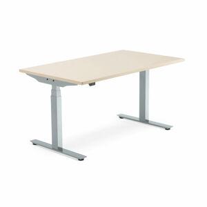 Výškově nastavitelný stůl Modulus, 1400x800 mm, stříbrný rám, bříza