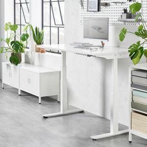 Výškově nastavitelný stůl Modulus, 1400x800 mm, bílý rám, bílá