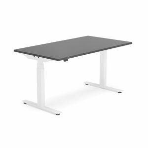 Výškově nastavitelný stůl Modulus, 1400x800 mm, bílý rám, černá