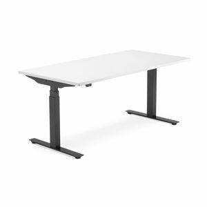 Výškově nastavitelný stůl Modulus, 1600x800 mm, černý rám, bílá