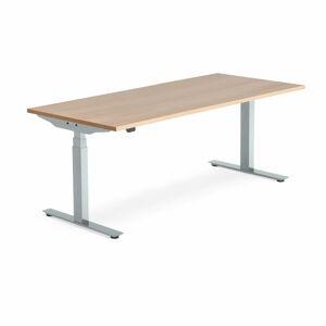 Výškově nastavitelný stůl Modulus, 1800x800 mm, stříbrný rám, dub