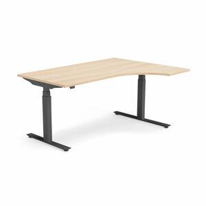 Výškově nastavitelný stůl Modulus rohový 160 x 120 cm, světle hnědá