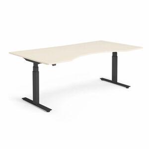 Výškově nastavitelný stůl Modulus vykrojený 200 x 100 cm, béžová
