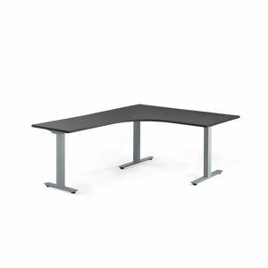 Rohový psací stůl Modulus, T-nohy, 1600x2000 mm, stříbrný rám, černá