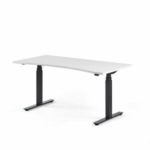Výškově nastavitelný stůl Modulus vykrojený 160 x 80 cm, bílá