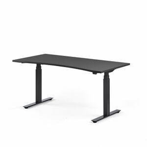 Výškově nastavitelný stůl Modulus vykrojený 160 x 80 cm, černá