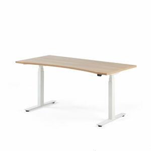 Výškově nastavitelný stůl Modulus vykrojený 160 x 80 cm, světle hnědá