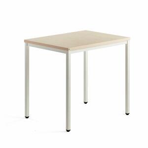 Přídavný stůl Modulus, 4 nohy, 800x600 mm, bílý rám, bříza