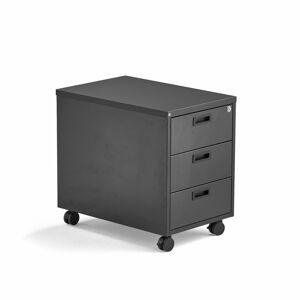 Mobilní zásuvkový kontejner Modulus, 3 zásuvky, uzamykatelný, černý