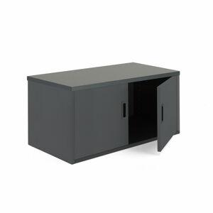 Kancelářská policová skříň Modulus, výška 400 mm, černá