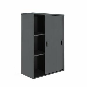 Skříň Modulus s posuvnými dveřmi 120 x 40 x 80 cm, černá, lamino