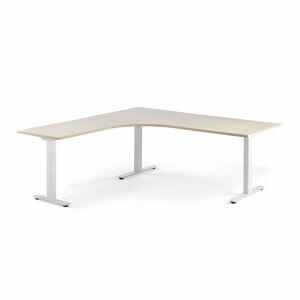 Rohový psací stůl Modulus, T-nohy, 2000x2000 mm, bílý rám, bříza