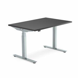 Výškově nastavitelný stůl Modulus Smart, 1200x800 mm, stříbrný rám, černá
