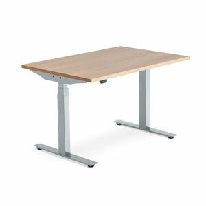Výškově nastavitelný stůl Modulus Smart, 1200x800 mm, stříbrný rám, dub