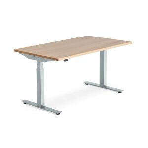 Výškově nastavitelný stůl Modulus Smart, 1400x800 mm, stříbrný rám, dub