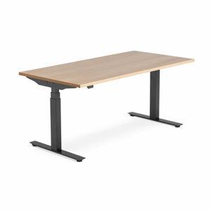 Výškově nastavitelný stůl Modulus Smart, 1600x800 mm, černý rám, dub