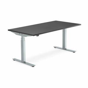Výškově nastavitelný stůl Modulus Smart, 1600x800 mm, stříbrný rám, černá
