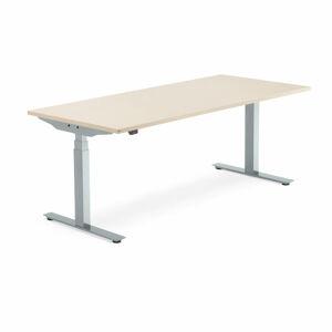 Výškově nastavitelný stůl Modulus Smart, 1800x800 mm, stříbrný rám, bříza