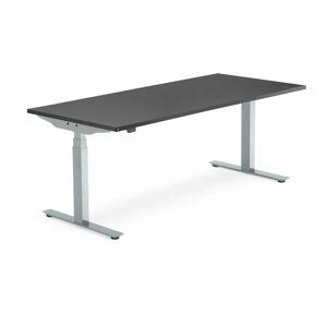 Výškově nastavitelný stůl Modulus Smart, 1800x800 mm, stříbrný rám, černá