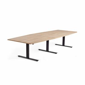 Jednací stůl Modulus, výškově nastavitelný, 3200x1200 mm, černý rám, dub