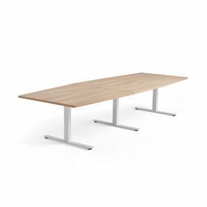 Jednací stůl Modulus, 3200x1200 mm, T-nohy, bílá podnož, dub