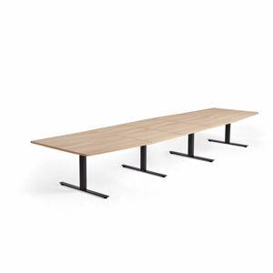 Jednací stůl Modulus, 4800x1200 mm, T-nohy, černá podnož, dub