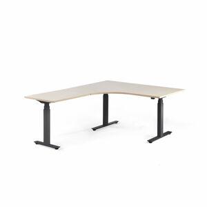 Výškově stavitelný stůl Modulus, rohový, 1600x2000 mm, černý rám, bříza