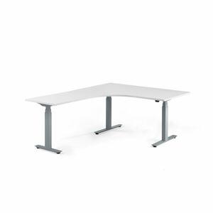 Výškově stavitelný stůl Modulus, rohový, 1600x2000 mm, stříbrný rám, bílá