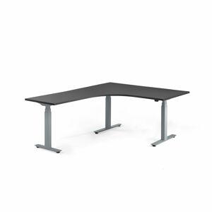 Výškově stavitelný stůl Modulus, rohový, 1600x2000 mm, stříbrný rám, černá