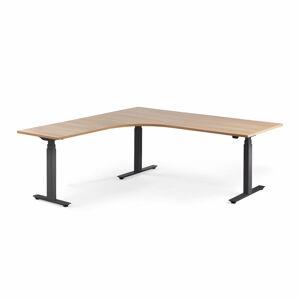 Výškově stavitelný stůl Modulus, rohový, 2000x2000 mm, černý rám, dub