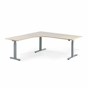 Výškově stavitelný stůl Modulus, rohový, 2000x2000 mm, stříbrný rám, bříza
