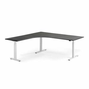 Výškově stavitelný stůl Modulus, rohový, 2000x2000 mm, bílý rám, černá