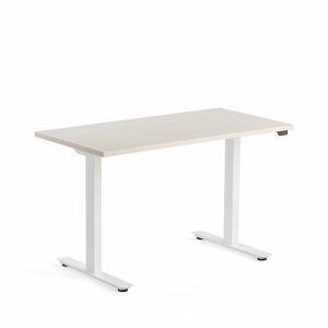 Výškově stavitelný stůl Modulus, 1200x600 mm, bílý rám, bříza