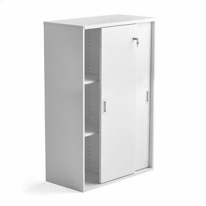 Skříň s posuvnými dveřmi Modulus, uzamykatelná, 1200x800 mm, bílá